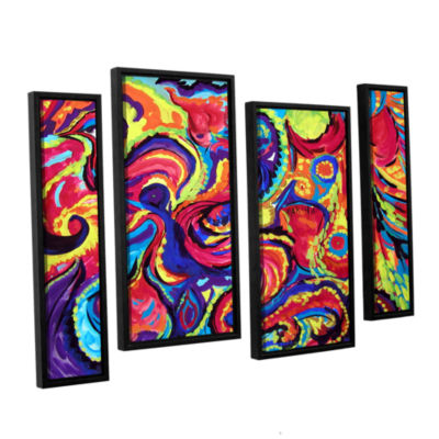 Brushstone Birth 4-pc. Floater Framed Staggered Canvas Wall Art