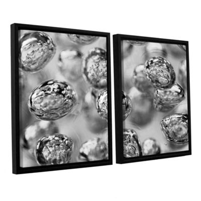 Brushstone Black and White Bubbles 2-pc. Floater Framed Canvas Wall Art
