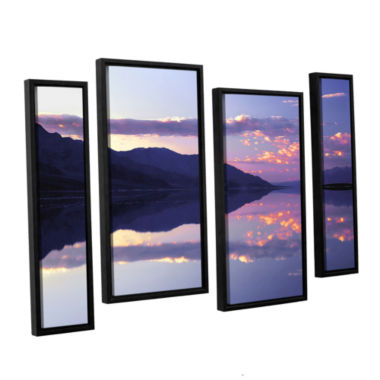 Brushstone Bad Water Sunset 4-pc. Floater Framed Staggered Canvas Wall Art