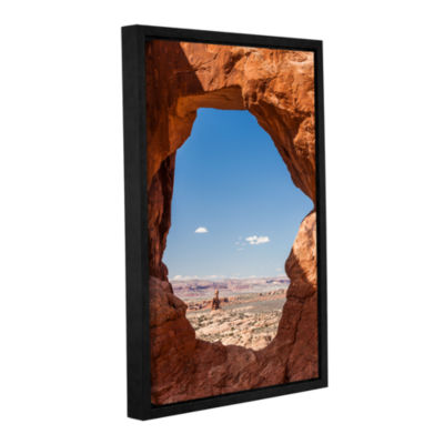 Brushstone Balanced Rock Through Double Arch Gallery Wrapped Floater-Framed Canvas Wall Art