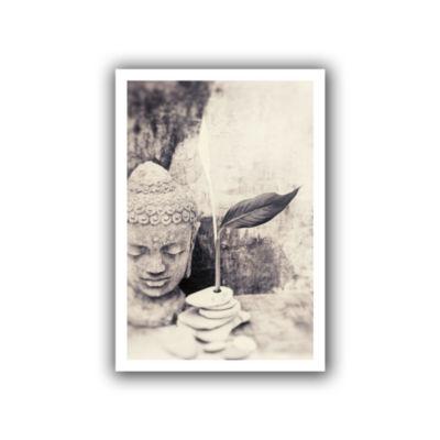 Brushstone Black and White Buddha Canvas Wall Art