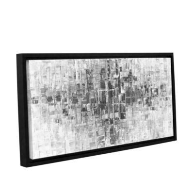 Brushstone Black and White Gallery Wrapped Floater-Framed Canvas Wall Art