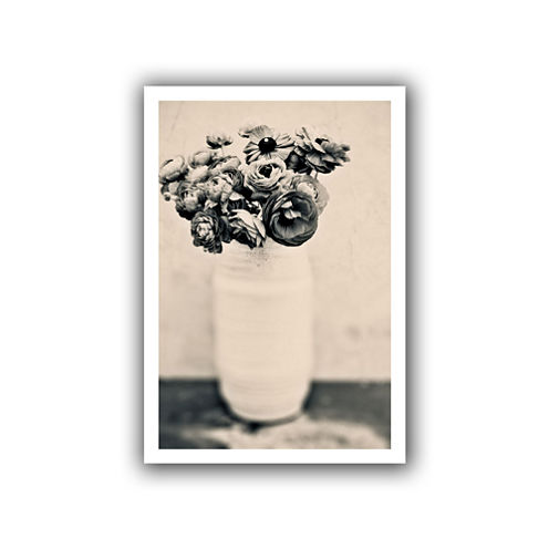 Brushstone Black and White Ranunculus Canvas WallArt