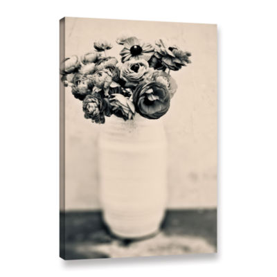 Brushstone Black and White Ranunculus Gallery Wrapped Canvas Wall Art