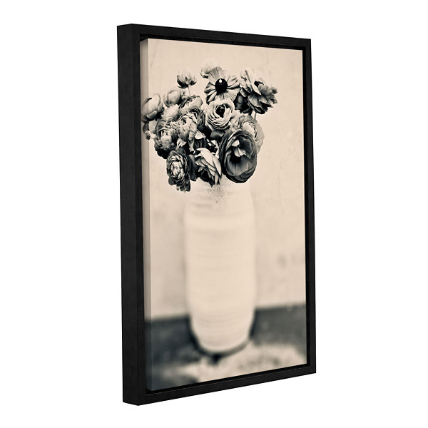 Brushstone Black and White Ranunculus Gallery Wrapped Floater-Framed Canvas Wall Art