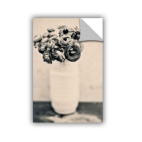 Brushstone Black and White Ranunculus Removable Wall Decal