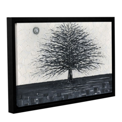 Brushstone Black and White Tree Gallery Wrapped Floater-Framed Canvas Wall Art