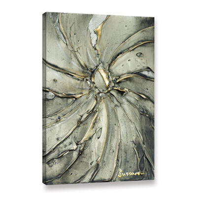 Brushstone Black Gold Swirl Gallery Wrapped CanvasWall Art