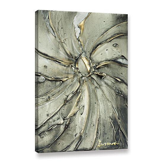 Brushstone Black Gold Swirl Gallery Wrapped CanvasWall Art