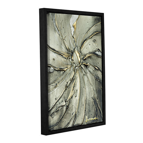 Brushstone Black Gold Swirl Gallery Wrapped Floater-Framed Canvas Wall Art