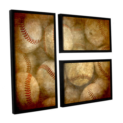 Brushstone Baseballs 3-pc. Flag Floater Framed Canvas Wall Art