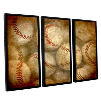 Brushstone Baseballs 3-pc. Floater Framed Canvas Wall Art