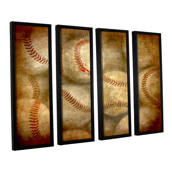Brushstone Baseballs 4-pc. Floater Framed Canvas Wall Art