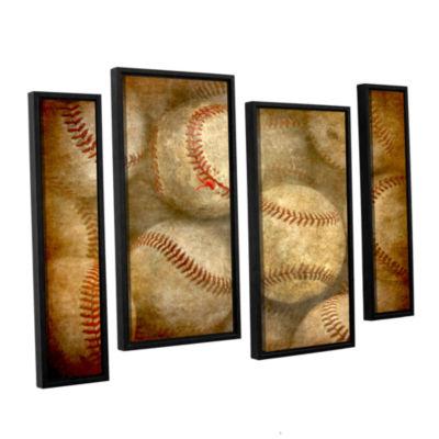 Brushstone Baseballs 4-pc. Floater Framed Staggered Canvas Wall Art