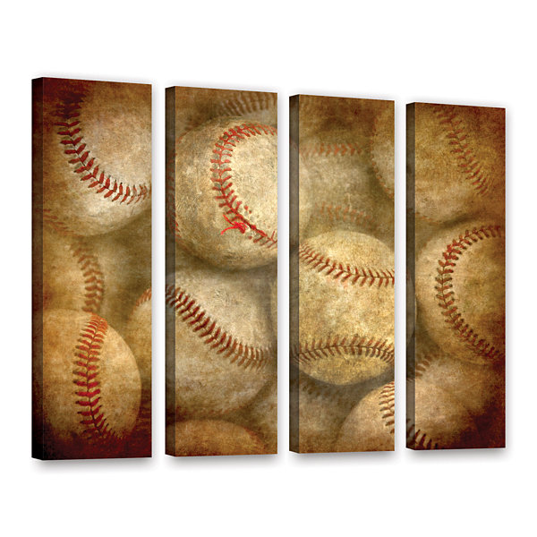 Brushstone Baseballs 4-pc. Gallery Wrapped CanvasWall Art