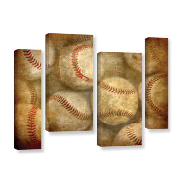 Brushstone Baseballs 4-pc. Gallery Wrapped Staggered Canvas Wall Art