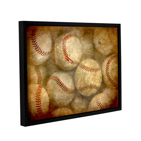 Brushstone Baseballs Gallery Wrapped Floater-Framed Canvas Wall Art
