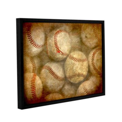 Brushstone Baseballs Gallery Wrapped Floater-Framed Canvas Wall Art