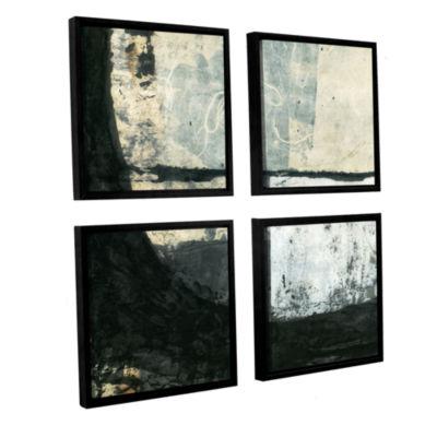 Brushstone Black Ink 4-pc. Square Floater Framed Canvas