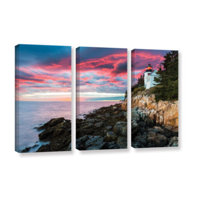 Brushstone Bass Harbour Light Head 3-pc. Gallery Wrapped Canvas Wall Art