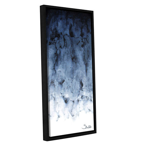 Brushstone Black Watery Gallery Wrapped Floater-Framed Canvas Wall Art
