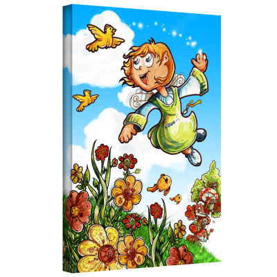 Brushstone Bird and Girl Gallery Wrapped Canvas Wall Art