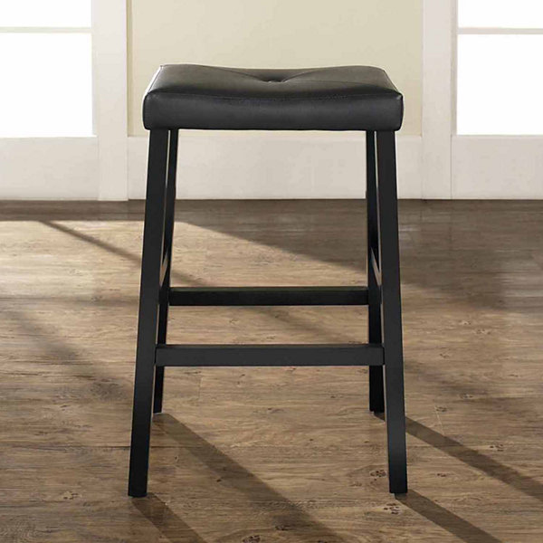 Upholstered Saddle Seat Barstool - Set of 2