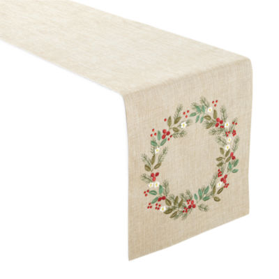 Holiday Christmas Wreath Runner