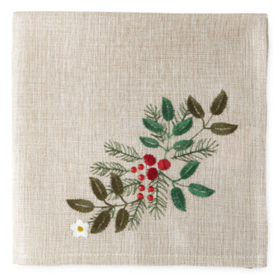 Holiday Christmas Wreath Set of 4 Napkins