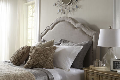 Home Meridian Shaped Nailhead Upholstered Bed