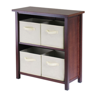 Winsome Verona 2-Section M Storage Shelf with 4 Foldable Beige Fabric Baskets