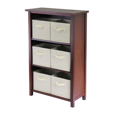 Winsome Verona 3- Section M Storage Shelf with 6 Foldable Beige Color Fabric Baskets