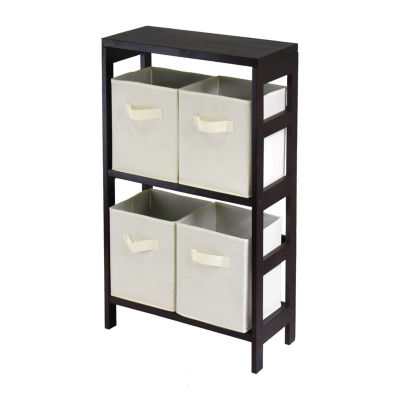 Winsome Capri 2-Section M Storage Shelf with 4 Foldable Beige Fabric Baskets