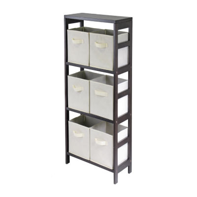 Winsome Capri 3-Section M Storage Shelf with 6 Foldable Beige Fabric Baskets