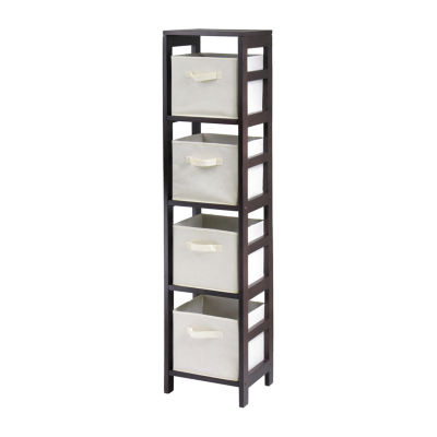 Winsome Capri 4-Section N Storage Shelf with 4 Foldable Beige Fabric Baskets