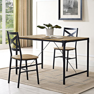 """48"""" Angle Iron Wood Dining Table"""