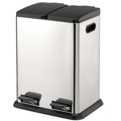 Neu Home 2-Compartment Stainless Steel Step-On Recycling Bin, 20L