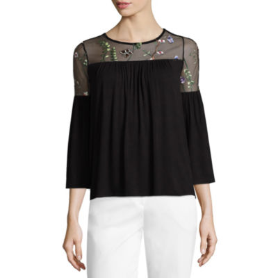 Liz Claiborne 3/4 Sleeve Floral Embroidered Blouse