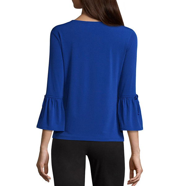 Liz Claiborne 3/4 Tie Sleeve Scoop Neck Knit Top