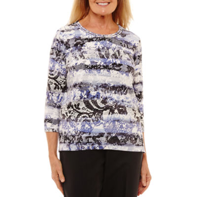Alfred Dunner 3/4 Sleeve Crew Neck Floral T-Shirt-Womens