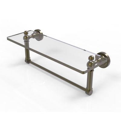 Allied Brass Dottingham 16 IN  Glass Vanity ShelfWith Integrated Towel Bar