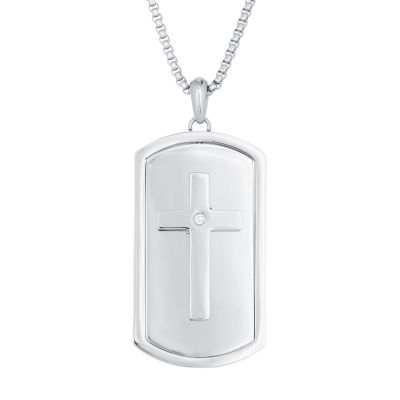 Mens White Cubic Zirconia Stainless Steel Dog Tag Pendant Necklace