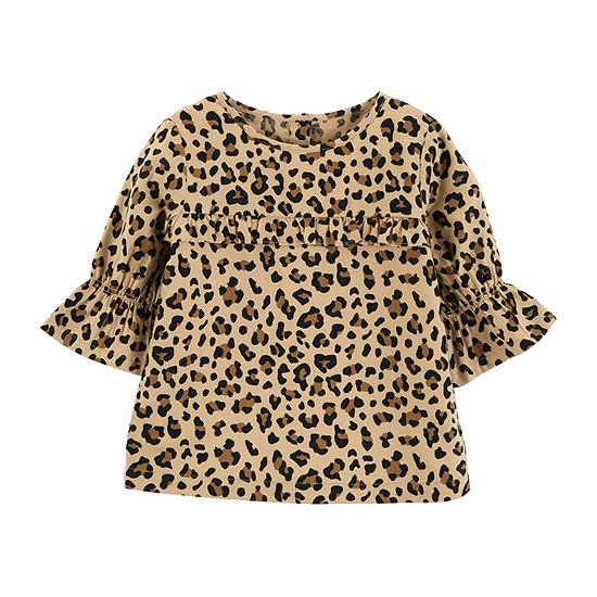 Carter's Bell Sleeve Top - Toddler Girls Girls Elbow Sleeve Flannel Shirt-Toddler