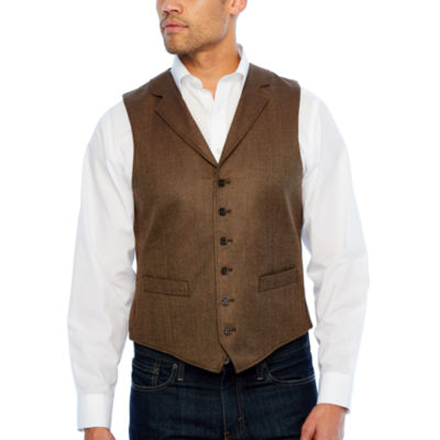 Stafford Merino Stretch Brown Donegal Classic Fit Suit Vest