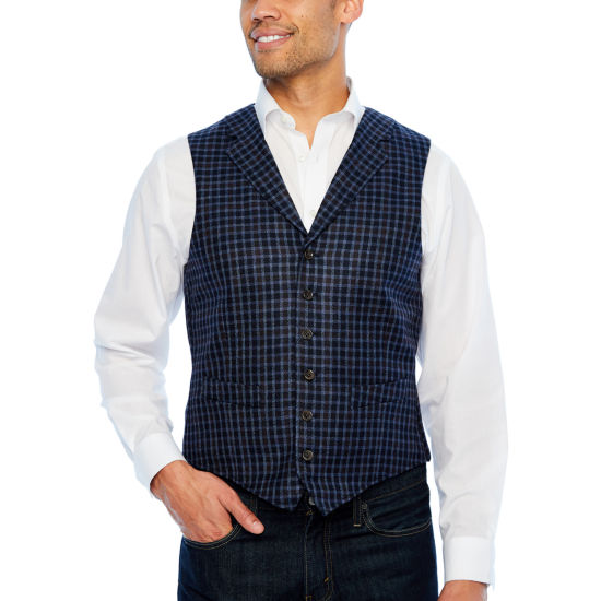 Stafford Merino Stretch Blue Navy Grid Classic Fit Suit Vest