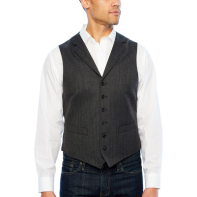 Stafford Merino Charcoal Herringbone Classic Fit Suit Vest