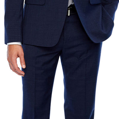 Collection by Michael Strahan  Blue Grid Slim Fit Stretch Suit Jacket