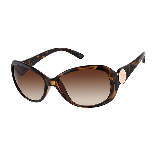 Liz Claiborne Womens Full Frame Round UV Protection Sunglasses