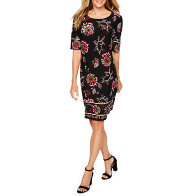 R & K Originals Short Sleeve Floral Shift Dress