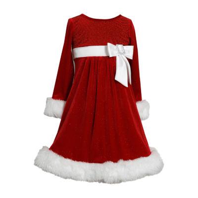 Bonnie Jean Long Sleeve Holiday A-Line Dress Girls